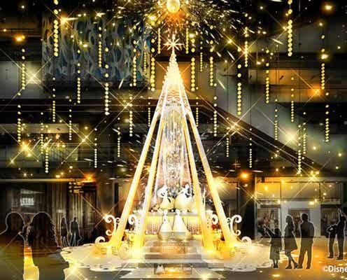ディズニープリンセスとの特別なクリスマス、グランフロント大阪で ツリーやシャンパンゴールドイルミ