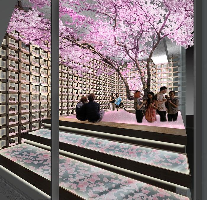 120万枚の桜の花びらの中でチルアウト「SAKURA CHILL BAR」/画像提供:アフロ&コー