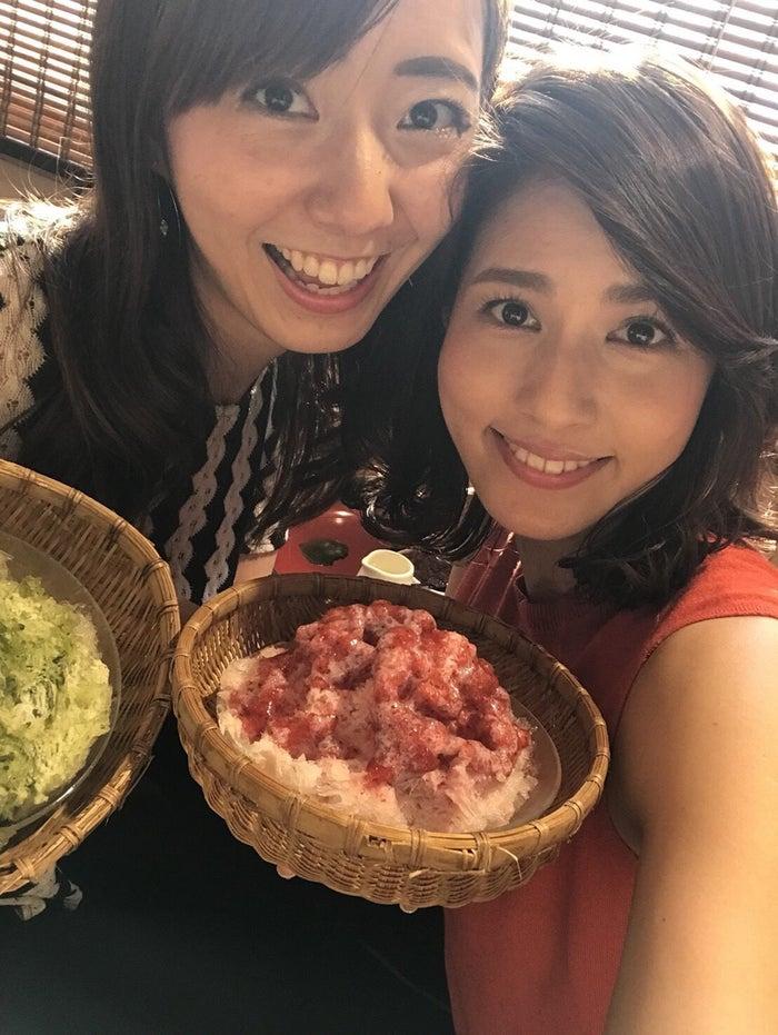 永島優美アナとかき氷を食べに/内田嶺衣奈アナウンサー(提供写真)