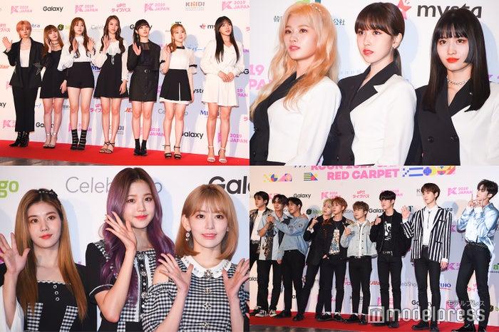 「KCON 2019 JAPAN」3日目レッドカーペットに出席した公園少女(GWSN)、TWICE、PENTAGON、IZ*ONE(左上から時計回り) (C)モデルプレス