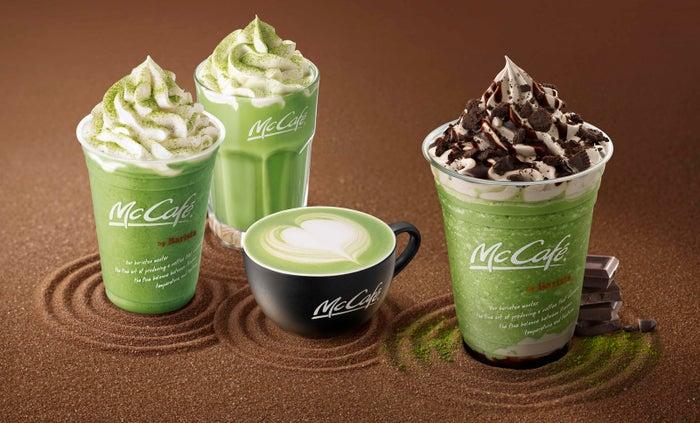 (左から)抹茶ラテフラッペ、アイス抹茶ラテ、抹茶ラテ、チョコ抹茶フラッペ/画像提供:日本マクドナルド