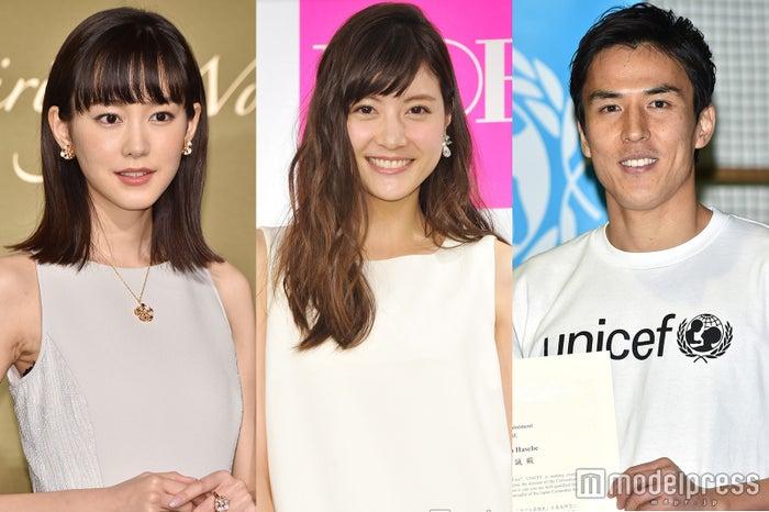 (左から)桐谷美玲、佐藤ありさ、長谷部誠選手 (C)モデルプレス