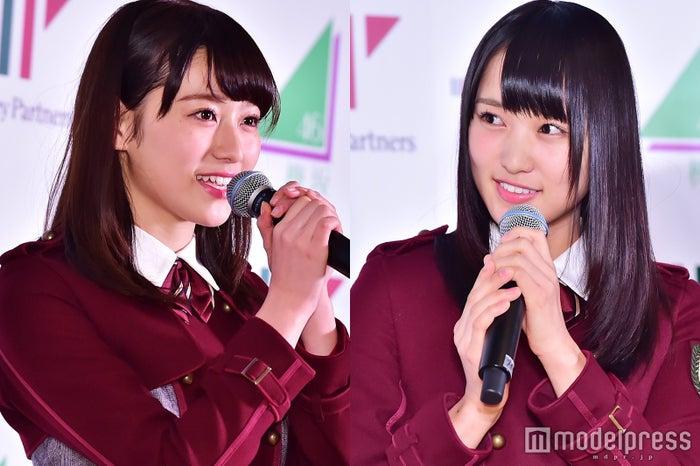 欅坂46のキャプテンに就任した菅井友香(右)、副キャプテンに就任した守屋茜(C)モデルプレス
