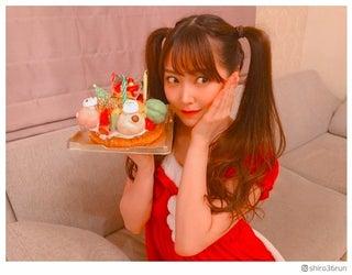 NMB48白間美瑠、ツインテールのサンタコスに「可愛すぎ」「最強」と絶賛の声 自宅でクリスマスパーティー