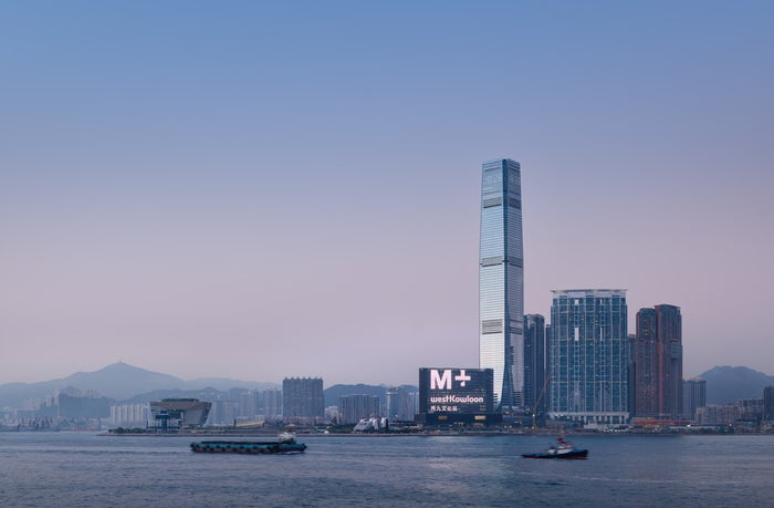 The M+ building, viewed from Victoria Harbour