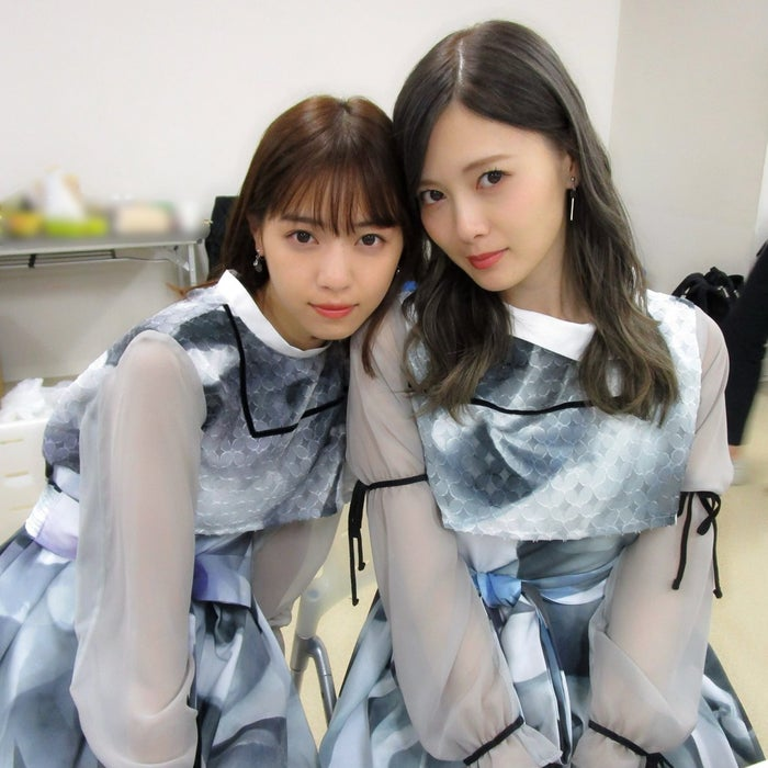 顔を寄せて写真に収まる白石麻衣と西野七瀬(撮影:斉藤優里)/提供写真