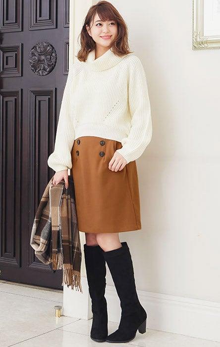 ウール調フロントボタン台形スカート「神戸レタス」1490円(税込)/画像提供:神戸レタス