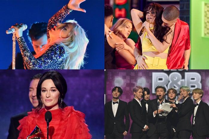(左上から時計回り)レディー・ガガ、カミラ・カベロ、BTS、ケイシー・マスグレイヴス(Photo by Getty Images)