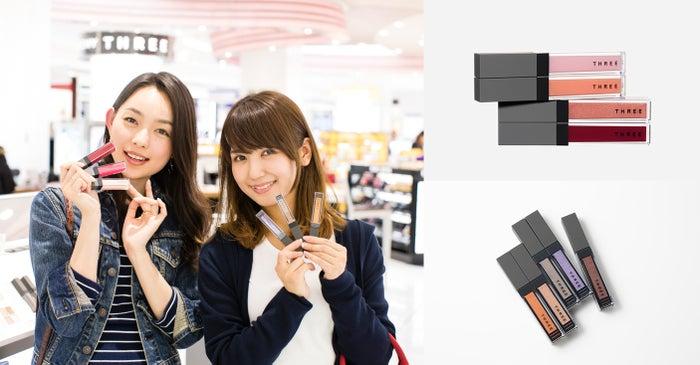 THREE(写真右上)シマリング リップジャム2,520円(写真右下)ウィスパー グロスフォーアイ2,780円/商品画像提供:THREE/モデル:比留川良子、百済友希