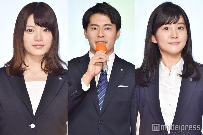 テレビ朝日新アナウンサーの(左から) 三谷紬アナウンサー、井澤健太朗アナウンサー、林美桜アナウンサー(C)モデルプレス