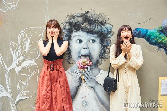 心ときめくバラのジェラートで話題の「Barista By Givres」。お店の壁面には、オーナーが描いたかわいいウォールアートが。(C)モデルプレス