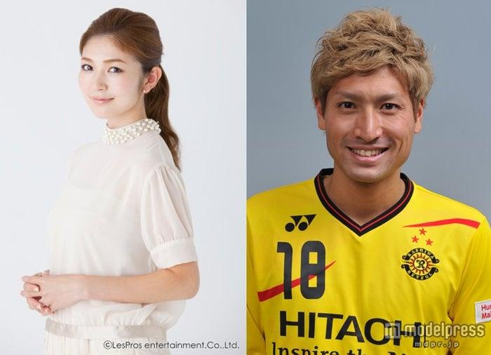 結婚を発表した宇井愛美と田中順也選手(c)LesPros Entertainment Co., Ltd. (c)KASHIWA REYSOL
