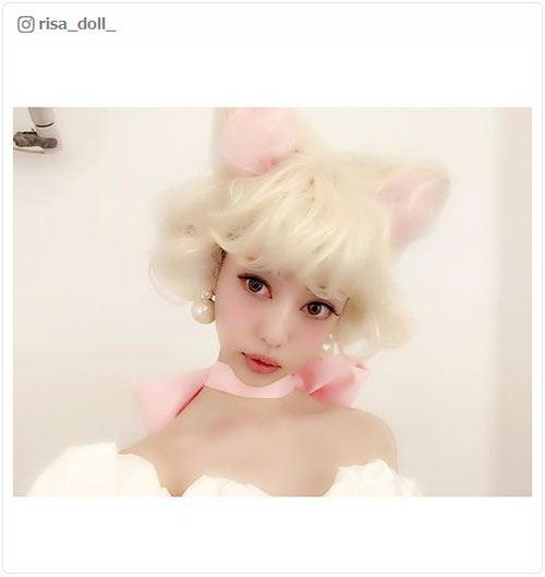 白ネコ姿を見せた中村里砂/中村里砂Instagramより