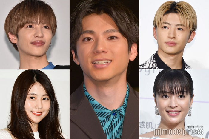(左上から時計回りに)志尊淳、山田裕貴、佐野玲於、広瀬すず、有村架純(C)モデルプレス