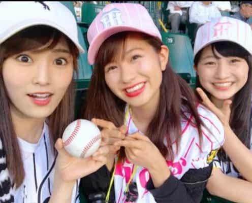 "NMB48山本彩、""伝統の一戦""でファウルボールをキャッチする"