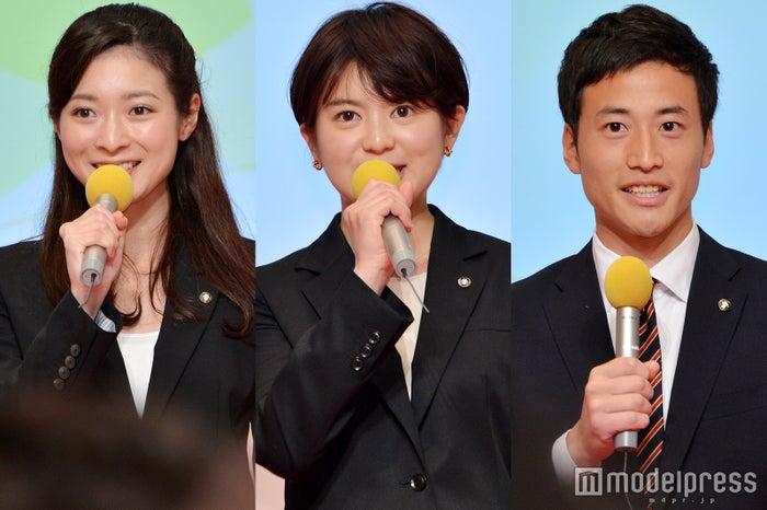 テレビ朝日2018年度入社の新人アナウンサー(左から)住田紗里、並木万里菜、柳下圭佑(C)モデルプレス