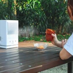 マイナス7.7度の風で涼しい!扇風機の生ぬるい風とはサヨナラできる冷風扇。クーラーより体に優しく、屋外でも使える