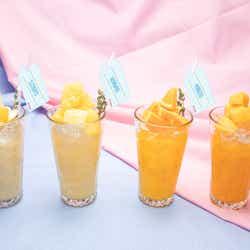 フルーツジュース on theフルーツ各920円(S.COUPS・グレープフルーツ/WONWOO・パイン/MINGYU・オレンジ/VERNON・マンゴー)/画像提供:レッグス
