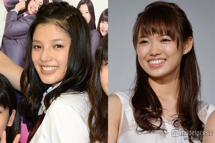 (左から)E-girls石井杏奈&山口乃々華の絆「ほっぺ掴んで…」【モデルプレス】