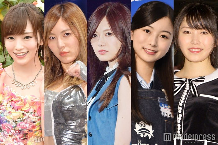 左から:山本彩、松井珠理奈、白石麻衣、佐々木琴子、横山由依(C)モデルプレス