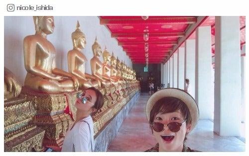 石田ニコル、深海と「まさかの2人旅」 タイの人気寺院を満喫/石田ニコルInstagramより