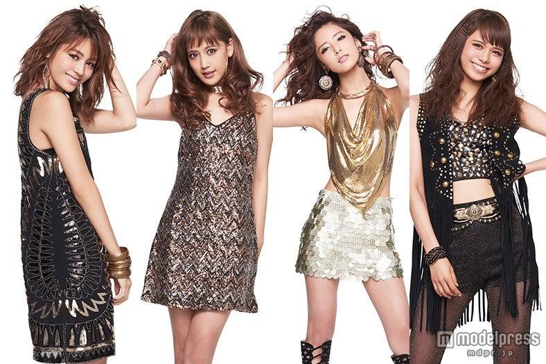 「GirlsAward 2015 AUTUMN/WINTER」に出演する(左から)E-girls楓、藤井夏恋、藤井萩花、佐藤晴美【モデルプレス】