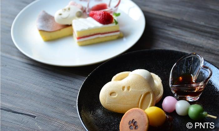 スヌーピー 和菓子プレート 858円、ベル 北海道チーズケーキプレート 968円各税込(提供画像)