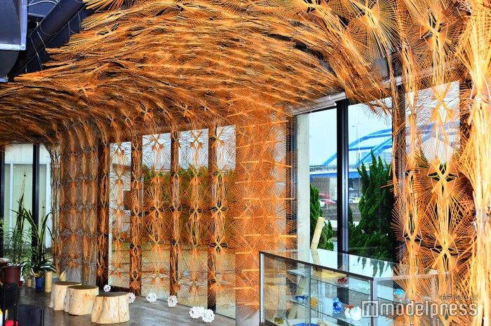 うちわの竹骨で出来たフォトジェニックな回廊(C)モデルプレス