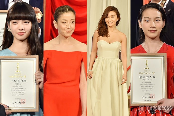 美女がドレスアップで集結「第38回日本アカデミー賞」/左から:小松菜奈、宮沢りえ、大島優子、能年玲奈【モデルプレス】