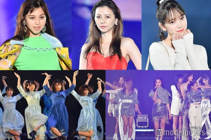 (左から時計回りに)中条あやみ、香里奈、堀未央奈、E-girls、日向坂46 (C)モデルプレス