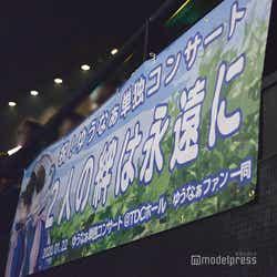 ファンによって用意された横断幕「ゆうなぁ単独コンサート~かけがえのない時間~」 (C)モデルプレス
