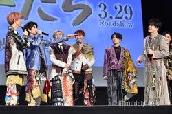 (左から)田中樹、高地優吾、京本大我、ジェシー、松村北斗、森本慎太郎(C)モデルプレス