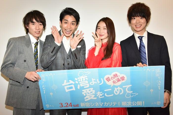 (左から)落合モトキ、大野拓朗、岡本夏美、三原慧悟監督(提供写真)