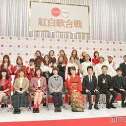 (左から時計回りに)Little Glee Monster、TWICE、WANIMA、竹原ピストル、三浦大知、エレファントカシマシ、丘みどり、SHISHAMO「第68回 NHK紅白歌合戦」出場歌手発表記者会見より(C)モデルプレス