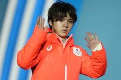 メダルセレモニーに参加した宇野昌磨(Photo by Getty Images)