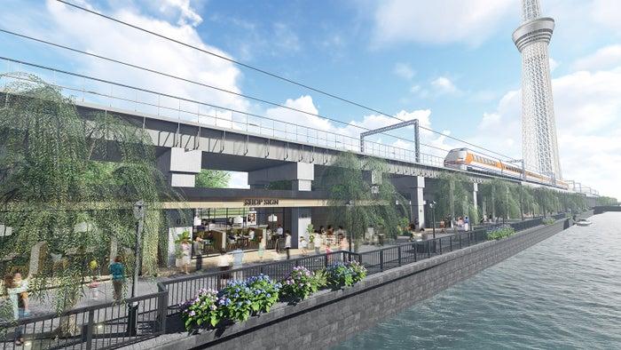 東京ミズマチ/北十間川から望む商業施設/画像提供:東武鉄道