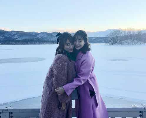 野崎萌香&谷まりあ、銀世界の函館で大自然&グルメ満喫 インスタライブの模様も覗き見