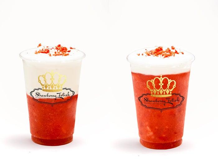 (右から)ストロベリー×ミルク 550円(税込)、ストロベリー×ストロベリー 650円(税込)/画像提供:Sugar Factory