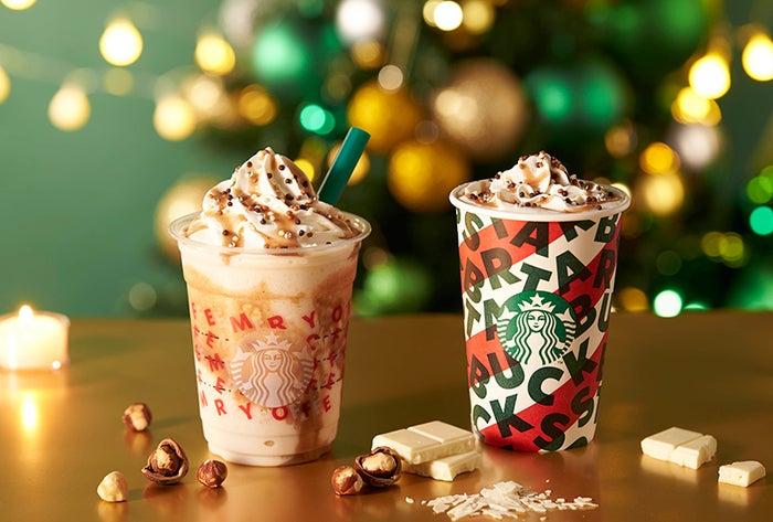 左から:ナッティ ホワイト チョコレート フラペチーノ、ナッティ ホワイト モカ※画像はイメージ/画像提供:スターバックス コーヒー ジャパン