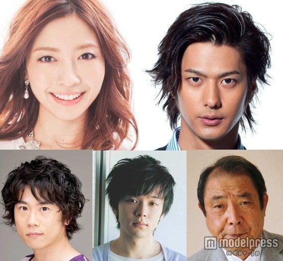 映画「海月姫」の追加キャストとして発表された片瀬那奈、速水もこみち、平泉成、中村倫也、内野謙太