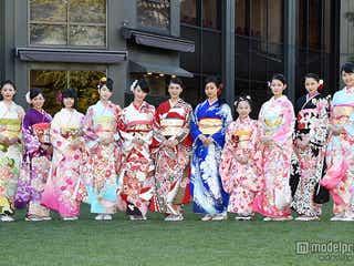 武井咲、剛力彩芽らオスカー美女11人が晴れ着姿で華やか集結