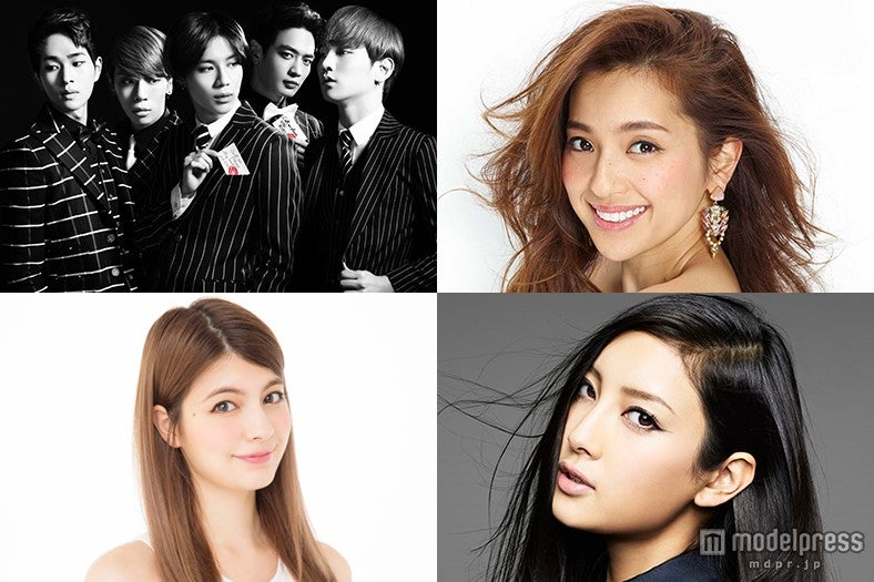 「GirlsAward 2015 A/W」開催決定/左上から時計回り:SHINee、中村アン、菜々緒、マギー【モデルプレス】