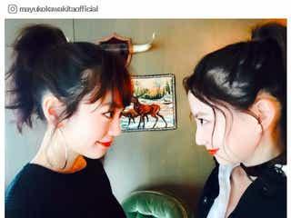 """桐谷美玲&河北麻友子の""""みれまゆ""""コンビ、横顔のお揃い2ショットに「美しい」「顔小さい」"""