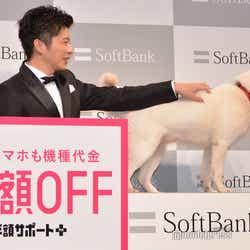 逃げようとする白戸家のお父さんを捕まえる田中圭(C)モデルプレス