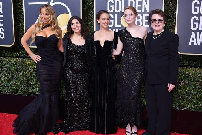 「第75回ゴールデン・グローブ賞」授賞式時:マライア・キャリー、アメリカ・フェレーラ、ナタリー・ポートマン、エマ・ストーン、ビリー・ジーン・キング/photo:Getty Images