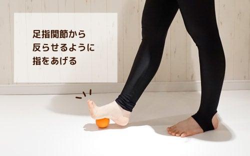足指関節から外らせるように指をあげる