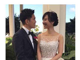 谷村奈南&井岡一翔選手、ハワイで結婚式 ウェディングドレス姿を公開