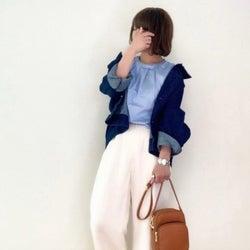 《今日の服装》襟抜きデニムジャケットでゆったり過ごすリラックスコーデ