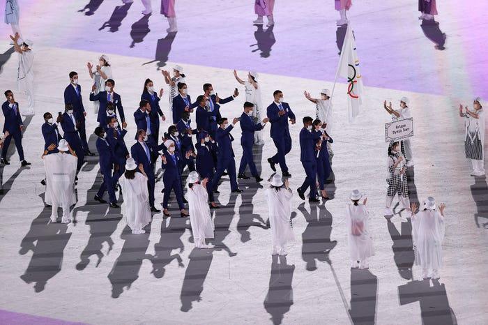 東京オリンピック開会式 難民選手団の入場の様子 /Photo by Getty Images