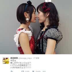 """モデルプレス - AKB48渡辺麻友&乃木坂46生駒里奈の""""密着""""2ショットに反響"""